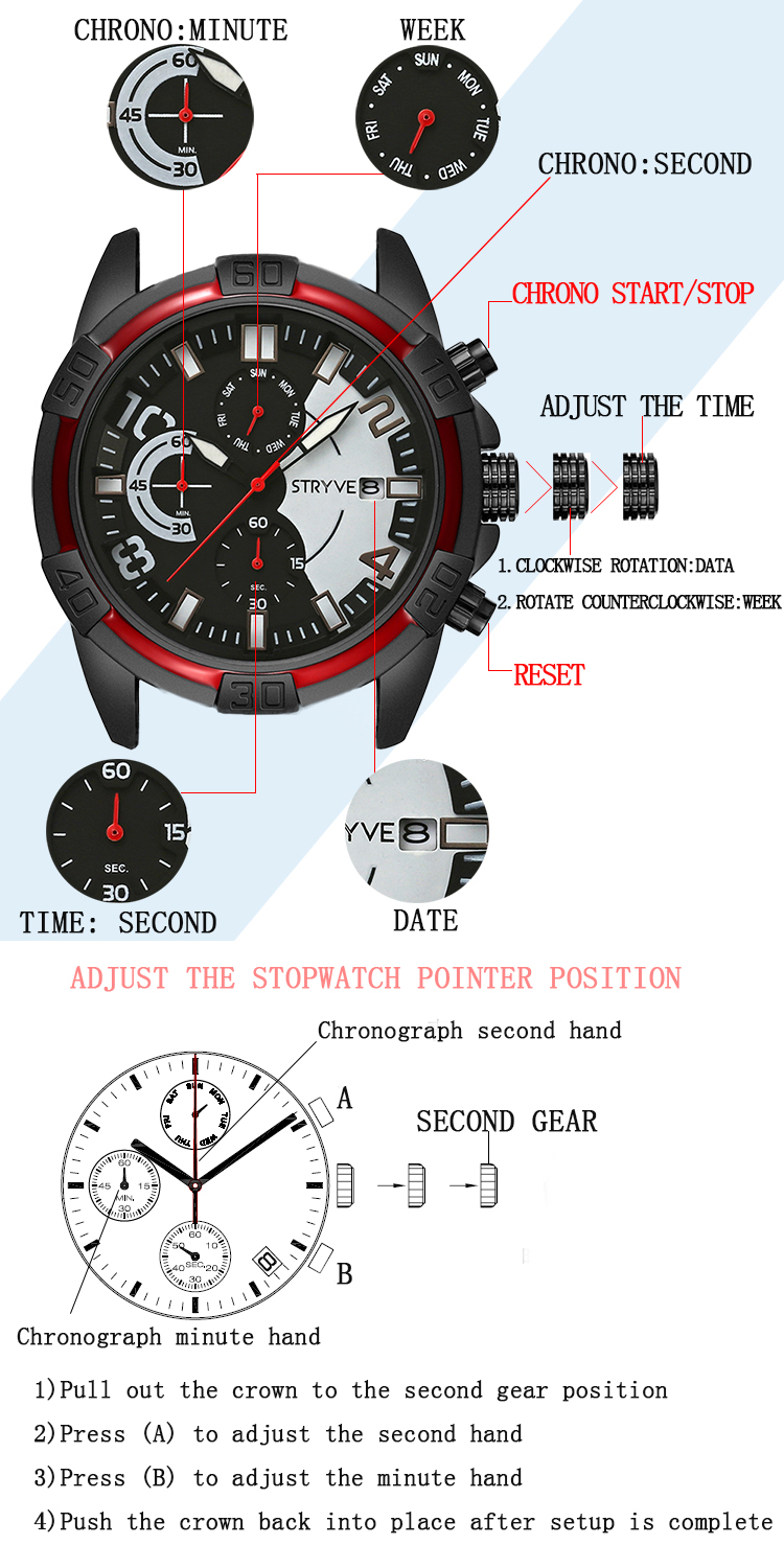 STRYVE S1001 Chrono Date Display Stopwatch Quartz Watch