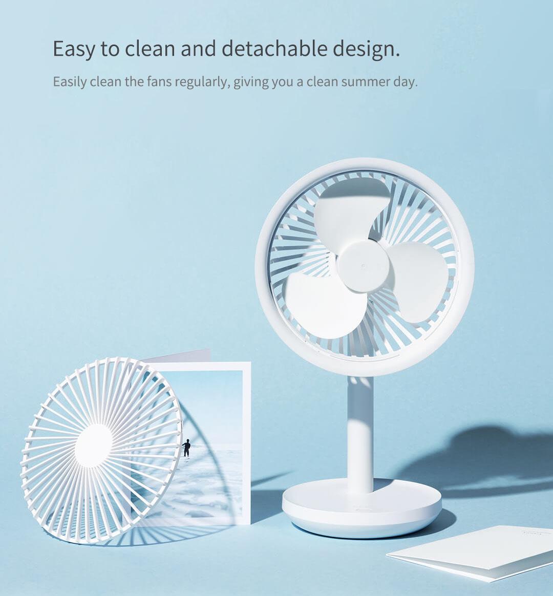 Xiaomi Solove F5 Desktop Fan 4000mAh Battery Capacity USB Charging Low Noise from Xiaomi Youpin - White