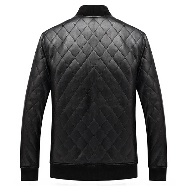 Mens PU Leather Motorcycle Thick Fleece Winter Jacket Casual Solid Color Baseball Collar Coat