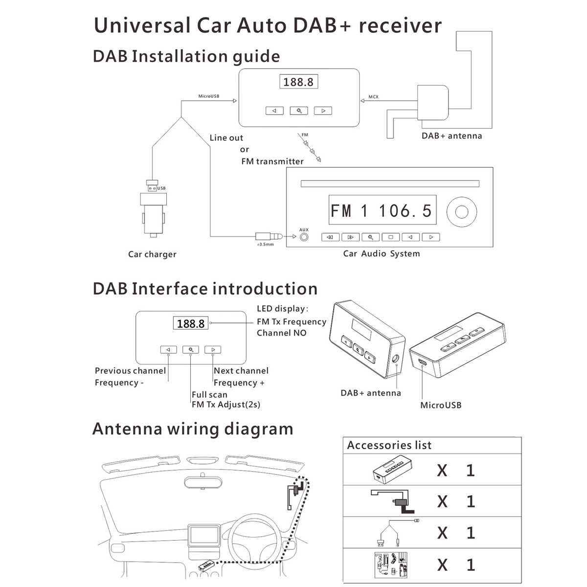 Car DAB Digital Radio and Receiver FM AUX Transmitter