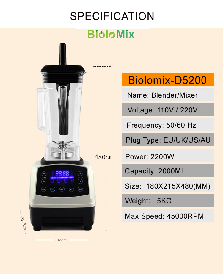 Biolomix Pro Premium D5200 Professional 3HP Touchscreen Digital Automatic Smart Timer Menu-Based Broken Machine Blender Mixer Juicer Food Fruit Processor