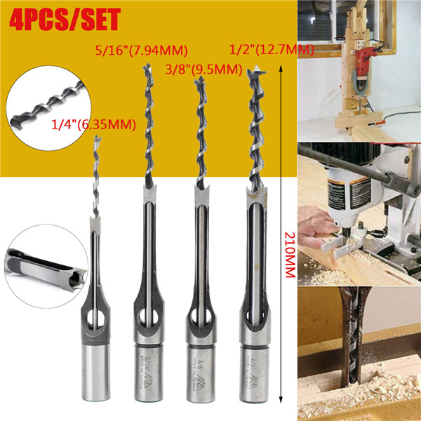 4pcs 1/4 to 1/2 Inch HSS Square Hole Saw Mortising Chisel Twist Auger Drill Bits
