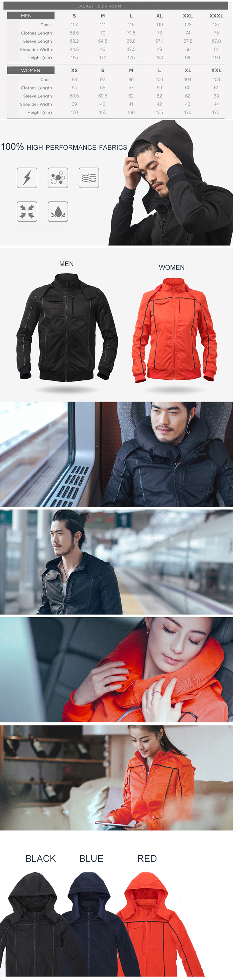 13 in 1 Smart Multi Pocket Travel Jacket with Built-in Neck Pillow Eye Mask Gloves Earphone Holders