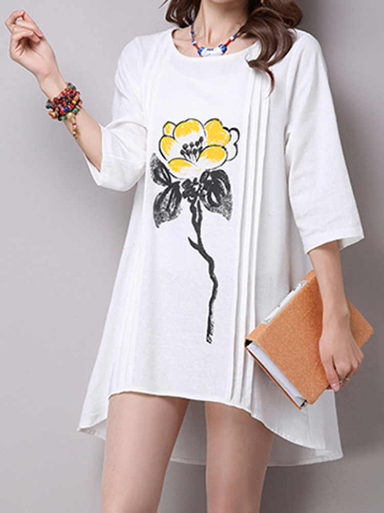 Women Half Sleeve Loose Flower Printing Cotton Linen O-Neck Mini Dress