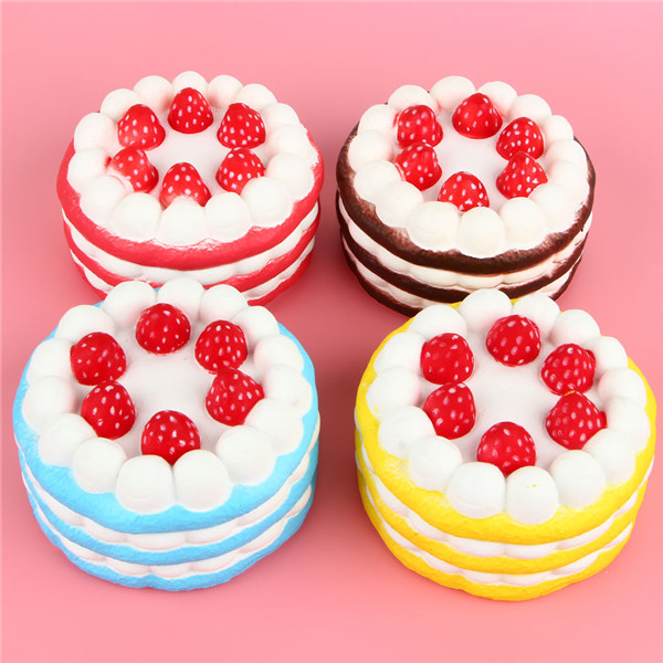 10cm Jumbo Squishy Strawberry Cake Pink Yellow Red Coffee Slow Rising Collection Gift Decor Toy