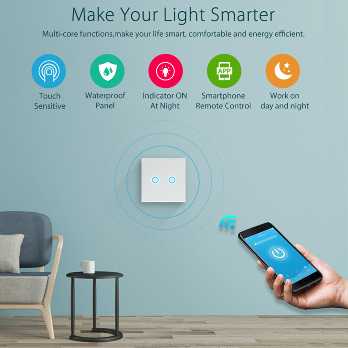 NEO WiFi On/Off Switch Light Switch 2Gang Wireless EU Light Control Smart Switch EU Remote Conrtol