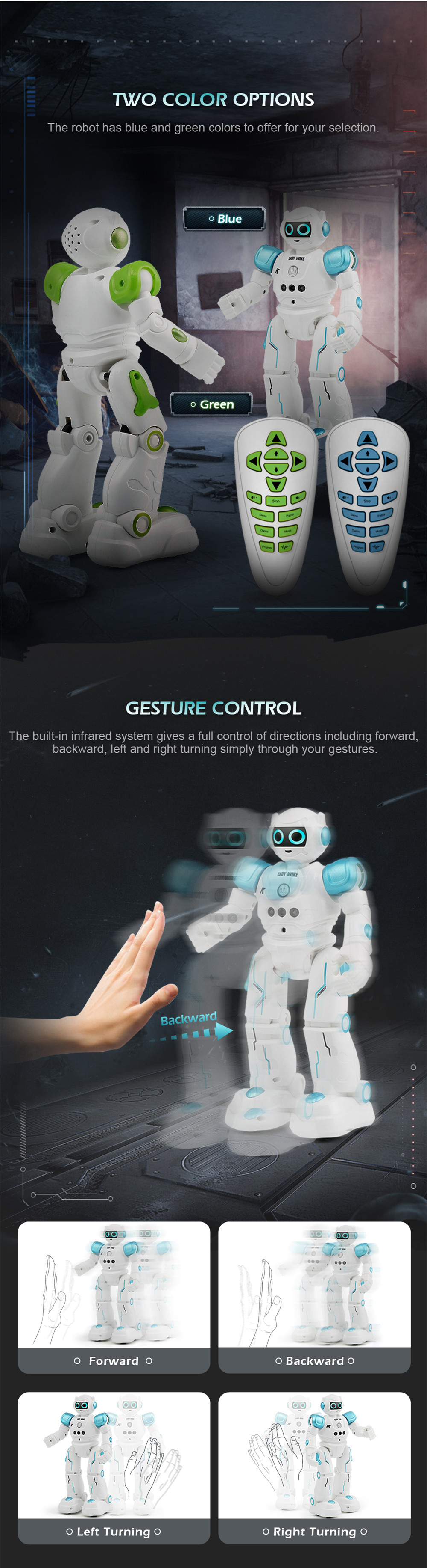 JJRC R11 CADY WIKE Smart RC Robot Gesture Sensing Touch Intelligent Programming Dancing Patrol Toy