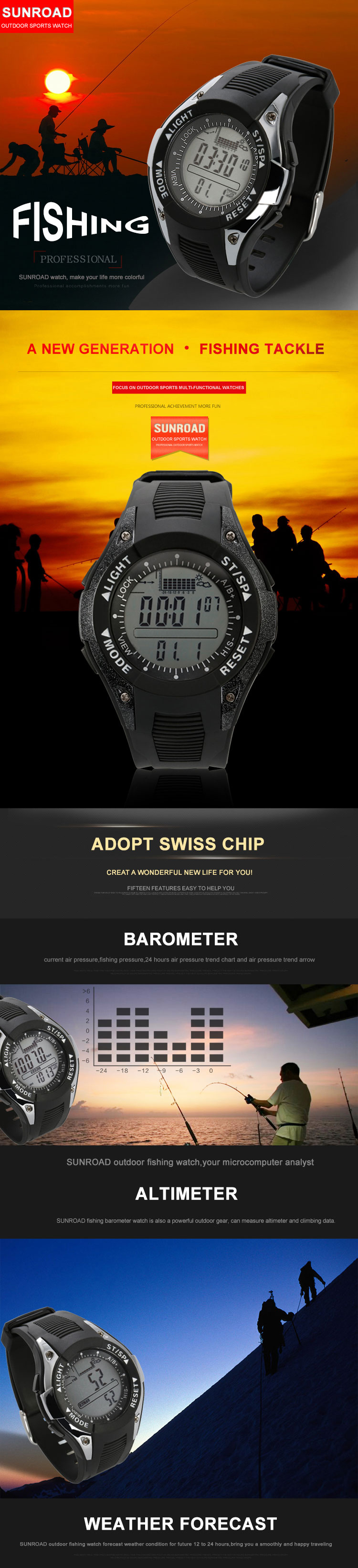 SUNROAD FX702A Fishing Barometer Watch Multifunctional Barometer Altimeter Thermometer Smart Watch
