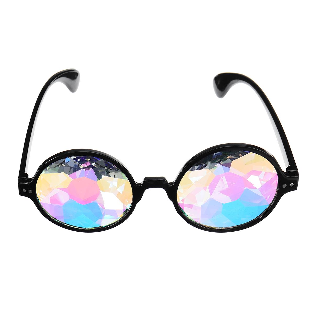 Unisex Party Kaleidoscope Glasses Glass Lens Costume Eyes Mirrored Retro Frame