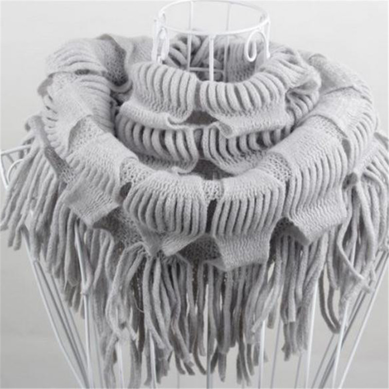 Womens Knitting Wool Fringe Tassel Scarfs Neck Wrap Knit Circle Snood Scarf Shawl