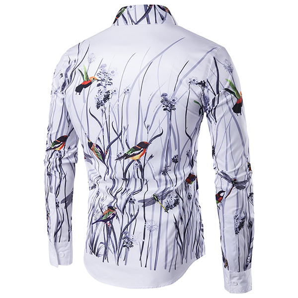 Mens Fashion Flower Bird 3D Printing Long Sleeve Turn Down Collar Fit Casual Designer Shirt