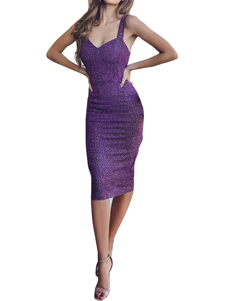 Sequined V Neck Bodycon Cocktail Party Formal Midi Dress