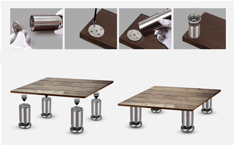 Height Adjustable Furniture Leg Feet Silver Stainless Steel Support for Table Bed Sofa Level Chair