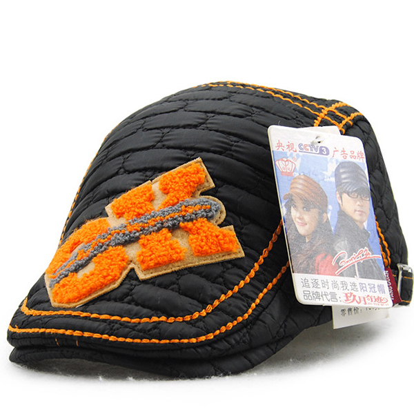 Kids Boys Girls Adjustable Patchwork Letter Beret Hat Casual Breathable Snapback Cap