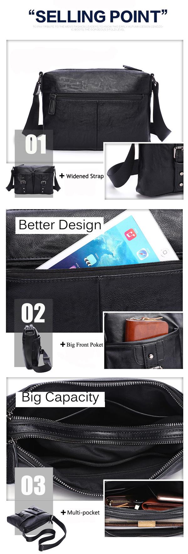 Genuine Leather Shoulder Bag Preppy Style Schoolbag Satchel Solid Casual Crossbody Bag For Men