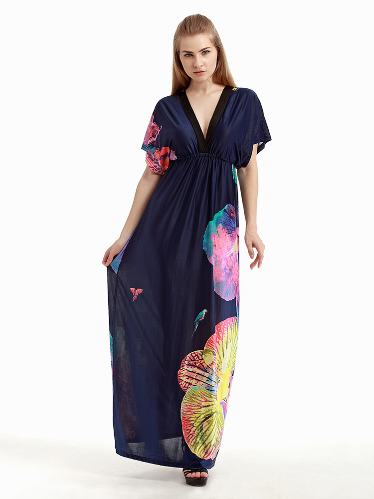 Elegant Women Pattern Printed Backless Beach Party Maxi Dress
