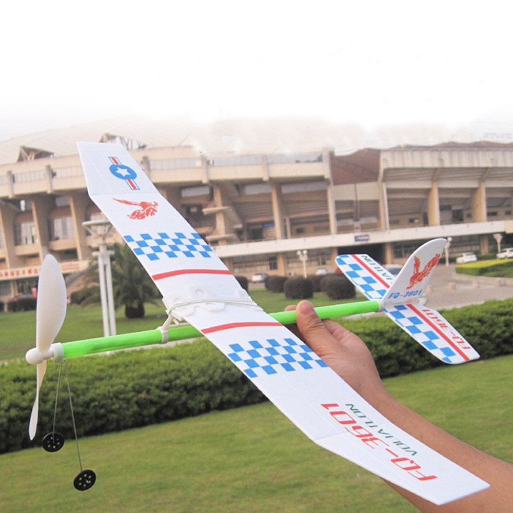 Elastic Rubber Band Powered DIY Propeller Plane Toy Kit Aircraft Model OutdoorToy
