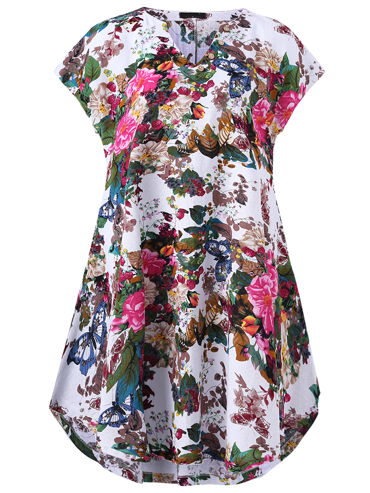 O-NEWE Vintage Women Flower Printed V-Neck Dress