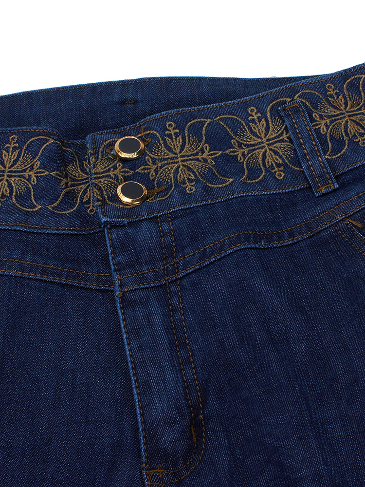 Women Embroider High Waist Wide Leg Denim Jeans