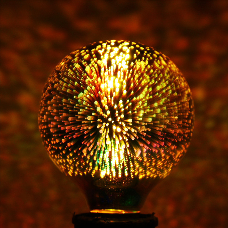 3D Fireworks E27 G80 LED Retro Edison Decorative Light Lamp Bulb AC85-265V
