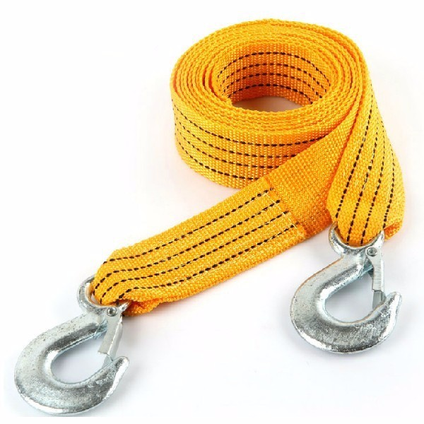 3M 3T Nylon Car Tow Rope Traction with Steel Hook Emergency Car Tool with Phosphor Strip