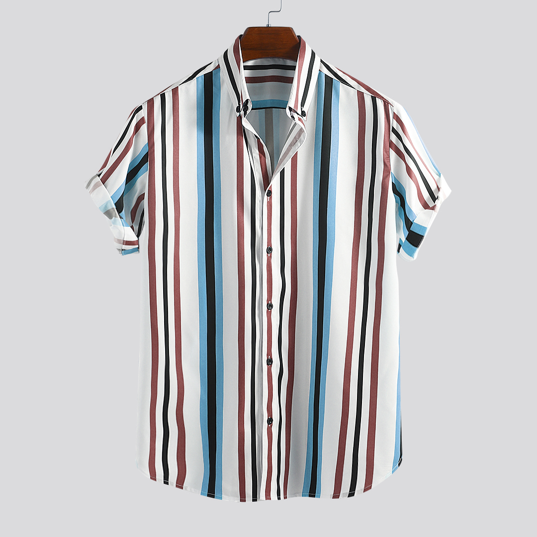 ChArmkpR Men Colorful Vertical Stripe Relaxed Shirts
