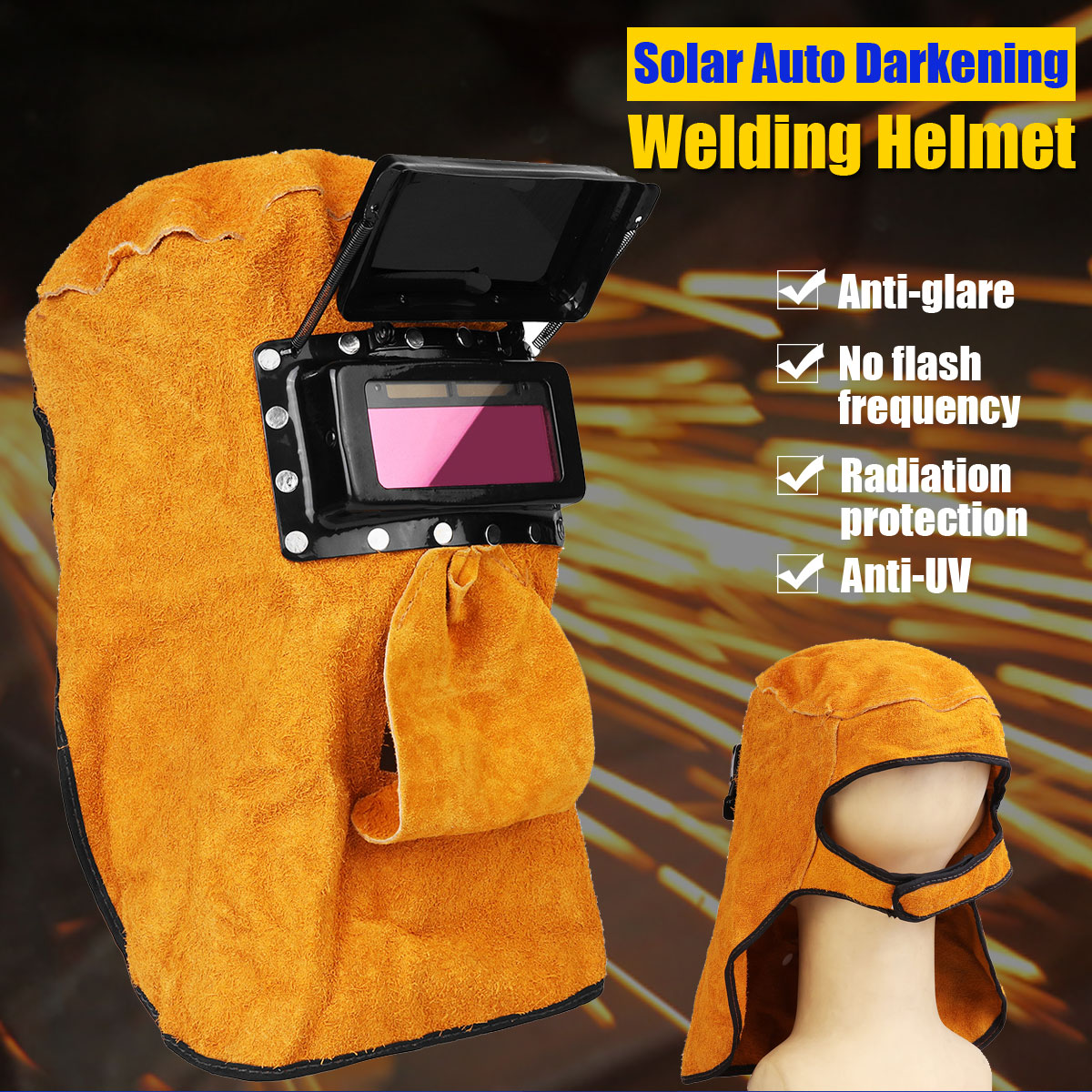 Leather Welding Helmet Mask Anti-glare Solar Auto Darkening Neck Protect Welding