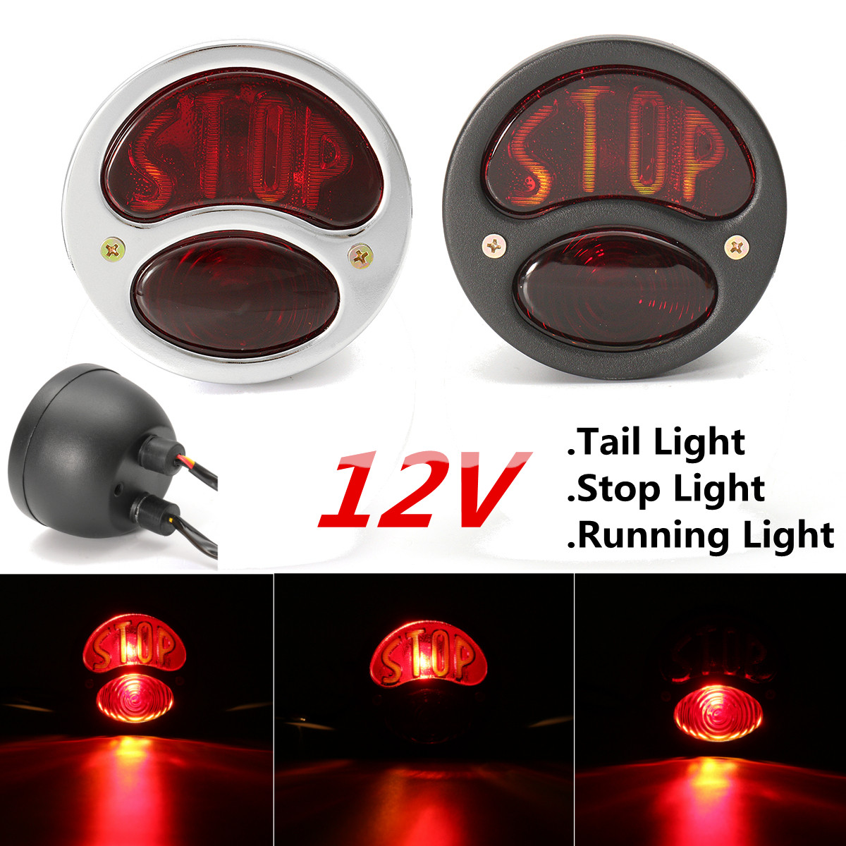 Motorcycle Rear Tail Brake Stop Light Running Lamp For Harley Cruiser Cafe Racer