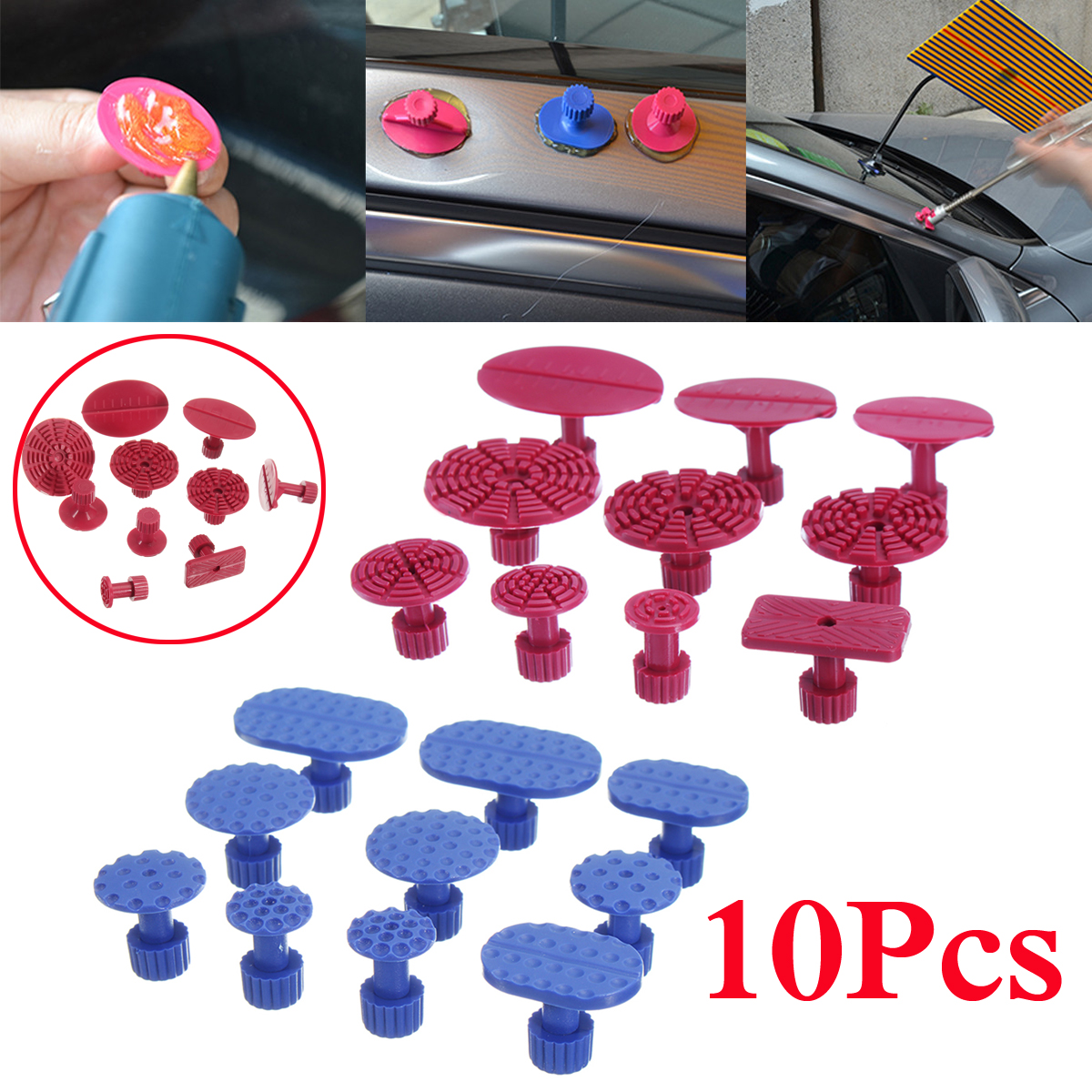 10Pcs Car Auto Paintless Dent Removal Repair Tools PDR Puller Lifter Glue Tabs
