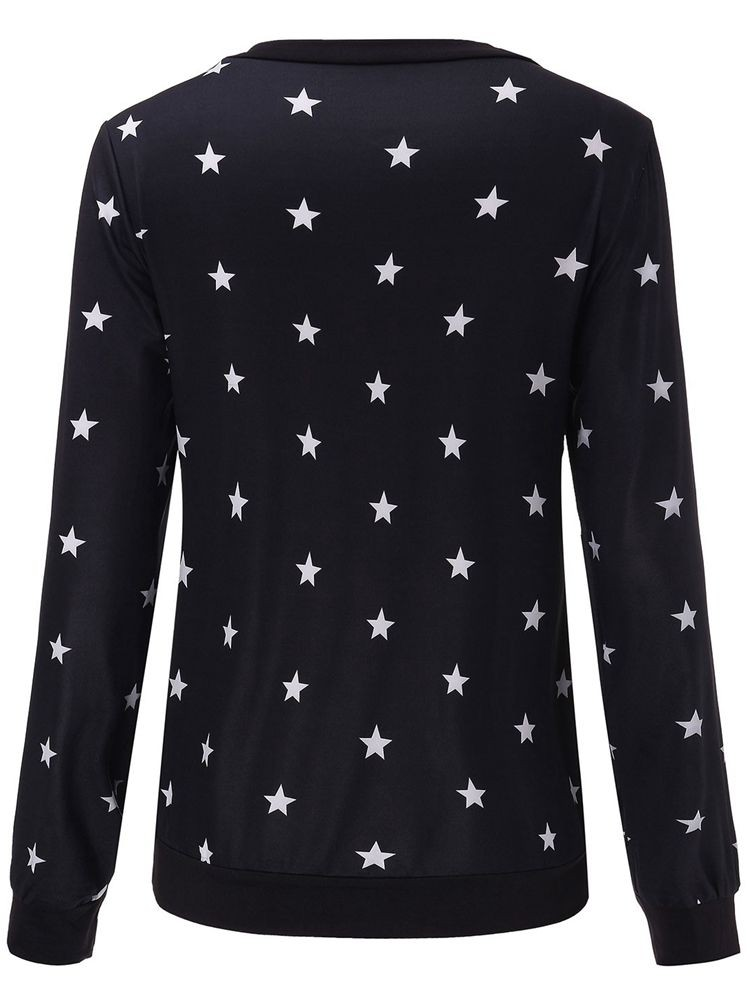 Casual Star Printed Long Sleeve Round Neck Women T-Shirt