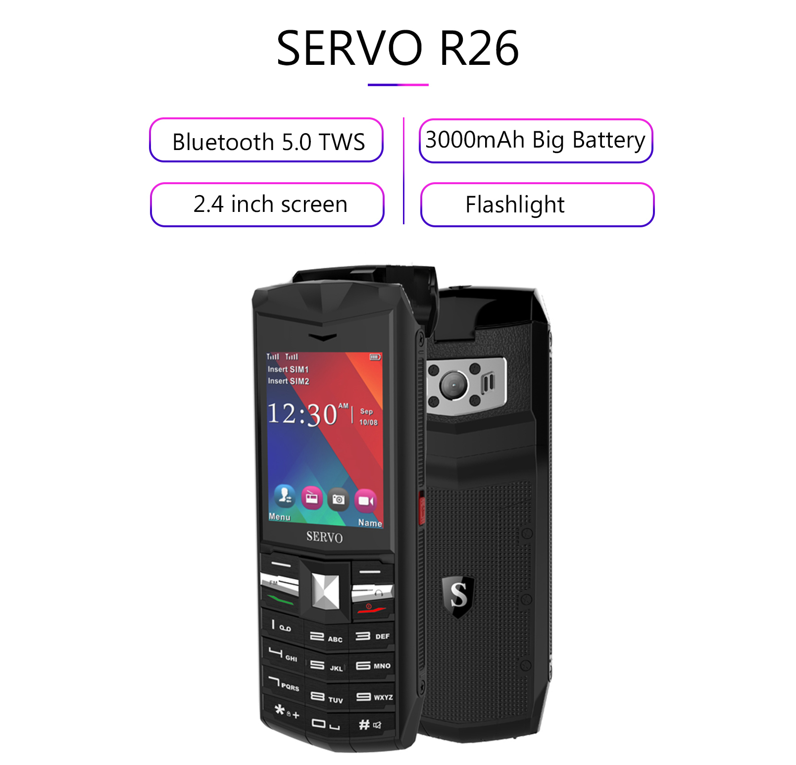 SERVO R26 2.4 inch 3000mAh Power Bank TWS True Wireless bluetooth 5.0 Headphone Flashlight Dual SIM Card Feature Phone-English Keyboard