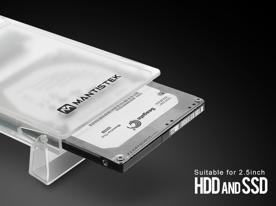 MantisTek® Mbox2 Transparent USB3.0 SATA External Hard Drive Enclosure for 2.5inch HDD/SSD UASP