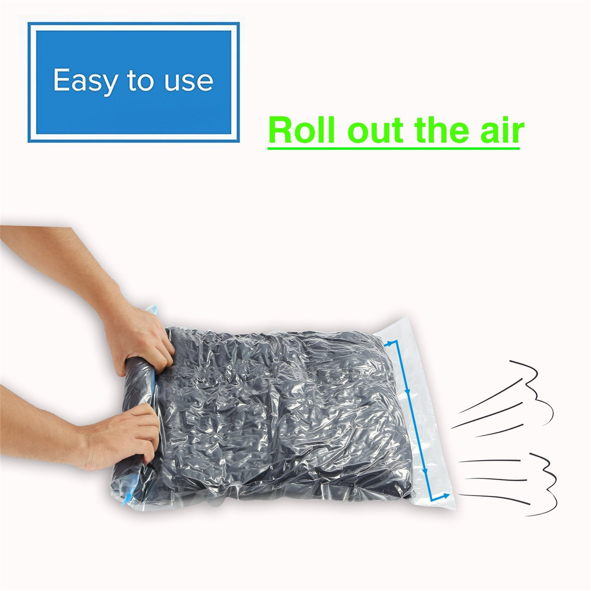 6Pcs Travel Clothes Compression Storage Bag Hand Rolling Clothing Plastic Vacuum Packing Sacks