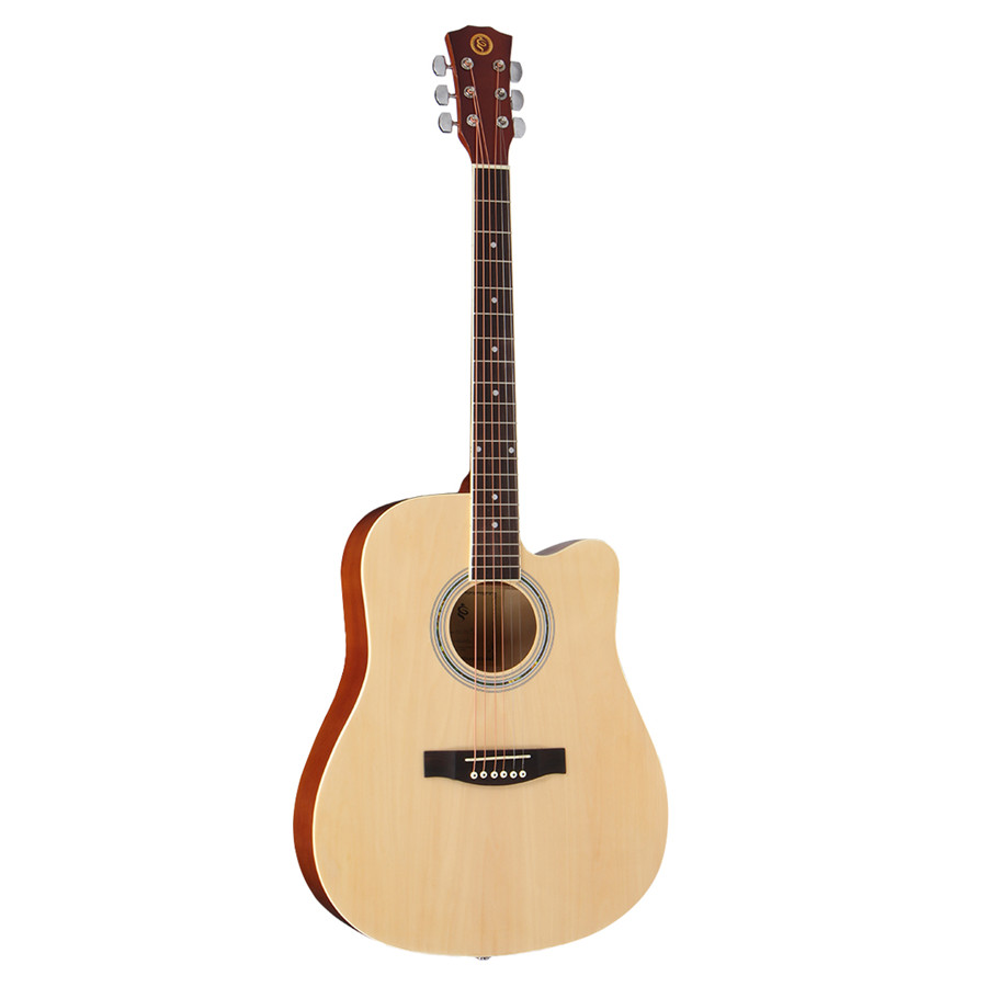 41 Inch Wooden Acoustic Folk Classic Guitar Full Size 21 Frets Basswood with Gig Bag