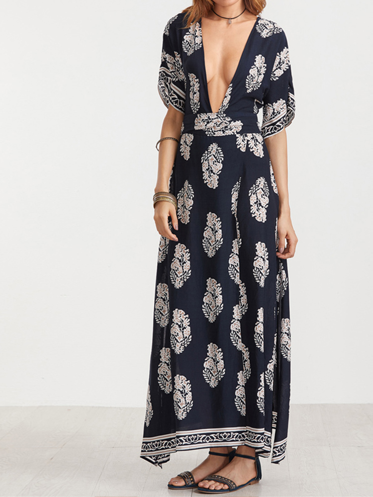 Sexy Women Backless Deep V-Neck Floral Printed Maxi Dresses