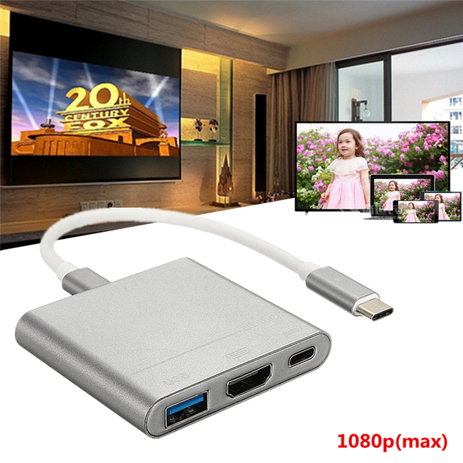 USB 3.1 Type C to USB 3.0 HDMI Type C Female Charger Adapter for Macbook PRO AIR