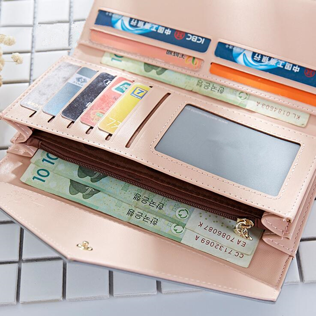 Multifunctional Women PU Leather Wallet Card Holder Purse Phone Bag Case for iPhone Samsung Xiaomi
