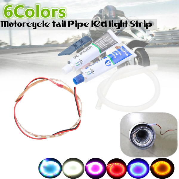 12V Motorcycle Exhaust Pipe LED Light Strip With AB Glue Waterproof