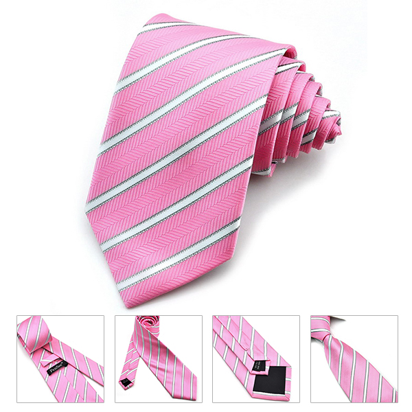 PenSee Mens Tie Jacquard Woven Silk Twill Stripes & Plaids Necktie-various Colors