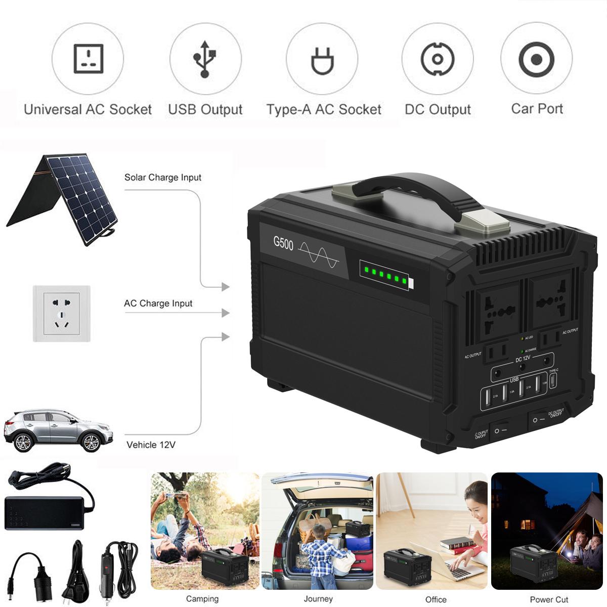 1000W 120000mAh 444Wh Portable Solar Generator Inverter Emergency UPS Supply 220V AU