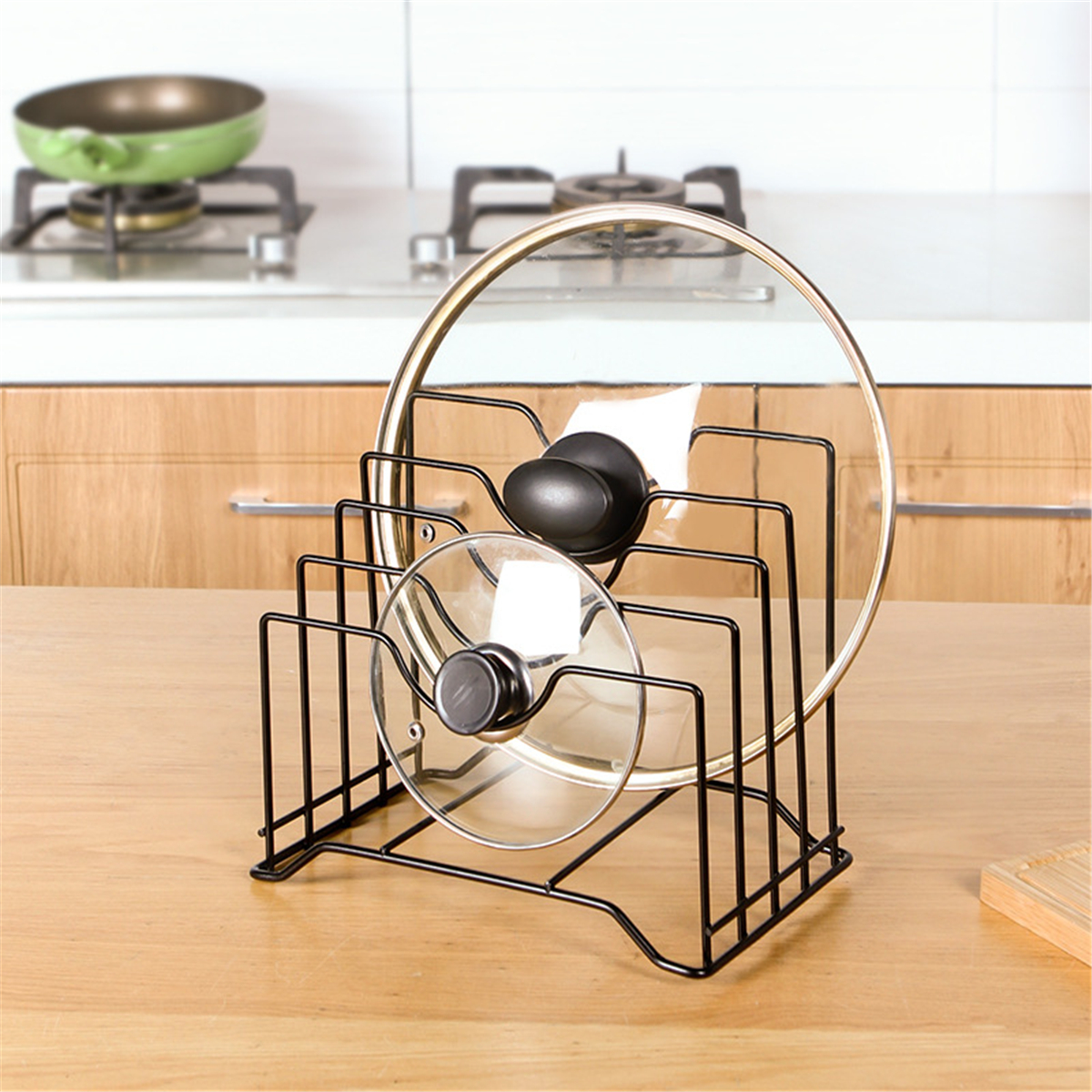 Stainless Steel Pot Pan Lid Rack Cutting Chopping Board Drying Cookware Holder