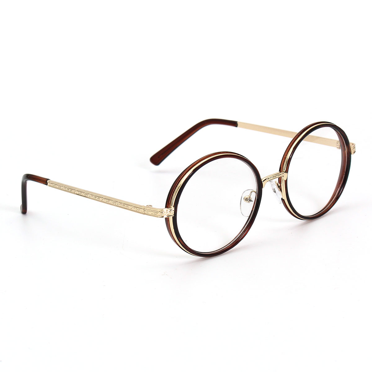 Unisex Vintage 48mm Round Tortoise Gold Eyeglasses Frame Full Rim Glasses Spectacles