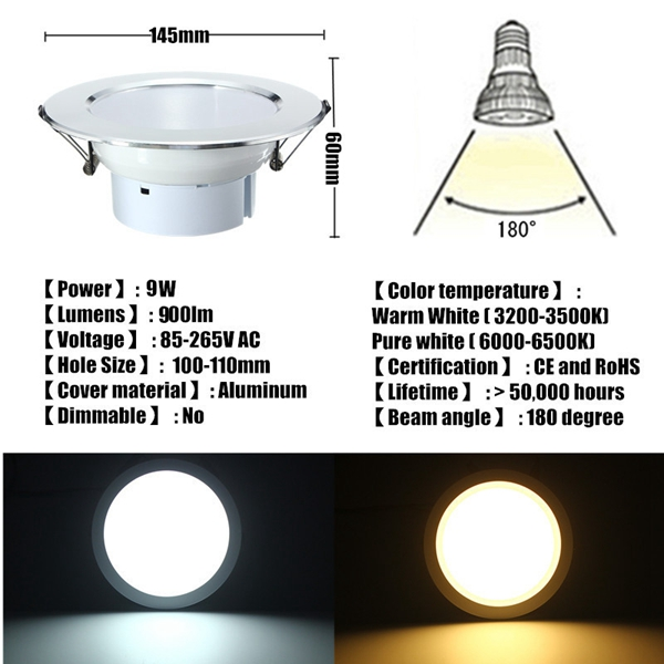 9W LED Panel Recessed Lighting Ceiling Down Lamp Bulb Fixture AC 85-265V