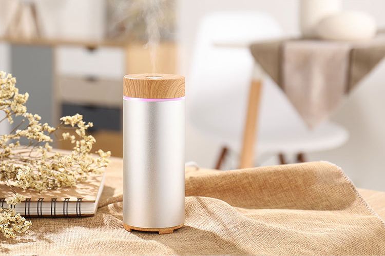 GX-Diffuser GX-W01 Protable Essential Oil Humidifier Aromatherapy Diffuser Metal & Wood Grain Style