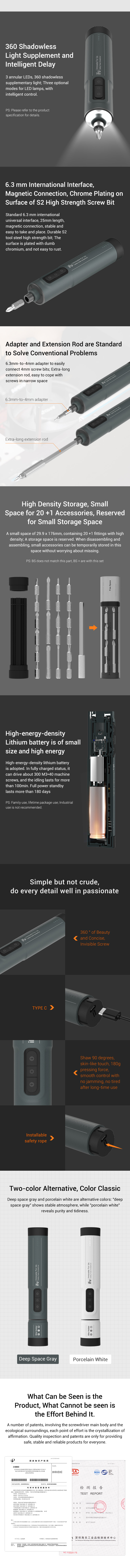 iFu BS1/BS1+ 6.3mm Lithium Electric/Manual Screwdriver 3 Speeds LED Lights Rechargeable Magnetic Integrated Screw Driver with 9/29 Screw Bits