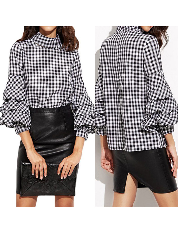 ZANZEA Women Vintage Plaid Shirt Back Zipper Cascading Ruffles Sleeve Blouse