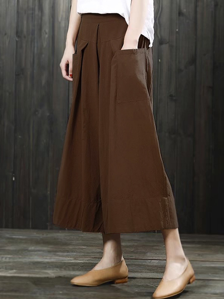 Women High Waist Loose Pockets Maxi Skirts