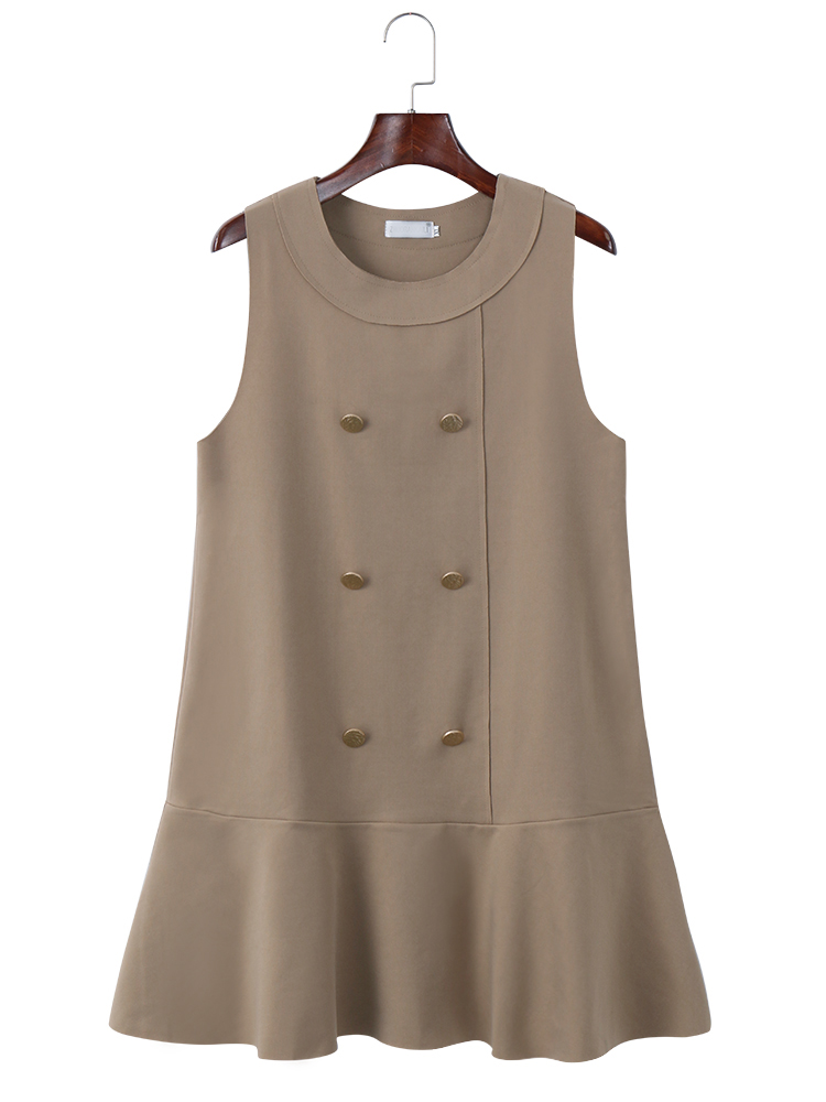 Casual Women Pure Color Sleeveless Knee-Length Dress