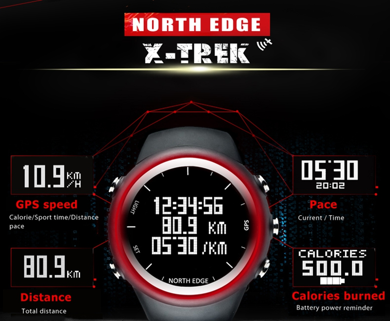 NORTH EDGE X-TREK Gym Hiking GPS Outdoor Fishing Climbing Marathon Swimming Sports Waterproof Watch