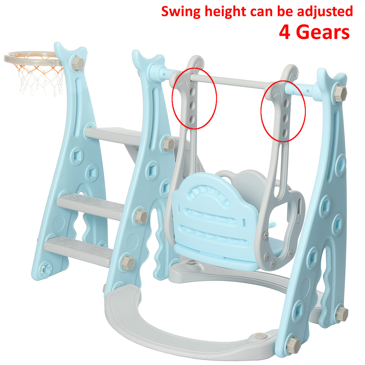 3 IN 1 Large Size Kids Playground Slide & Swing & Basketball Hoop DIY Assembly Set Toys